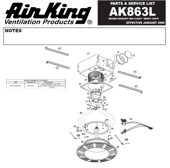 Air King Ak863l Parts